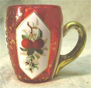 Overlay Glass Handled Cup.