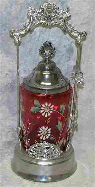 Cranberry Glass and Silver Plate Pickle