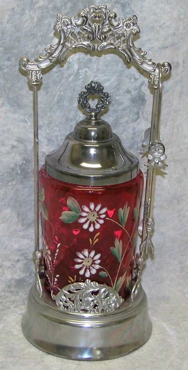 530: Cranberry Glass and Silver Plate Pickle