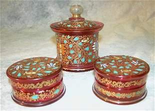 Cranberry Glass 3-Piece Dresser Set.