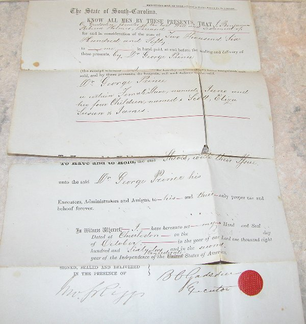17: Bill of Sale for 5 Slaves- 1862.