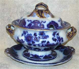 Flow Blue Soup Tureen With Under tray –
