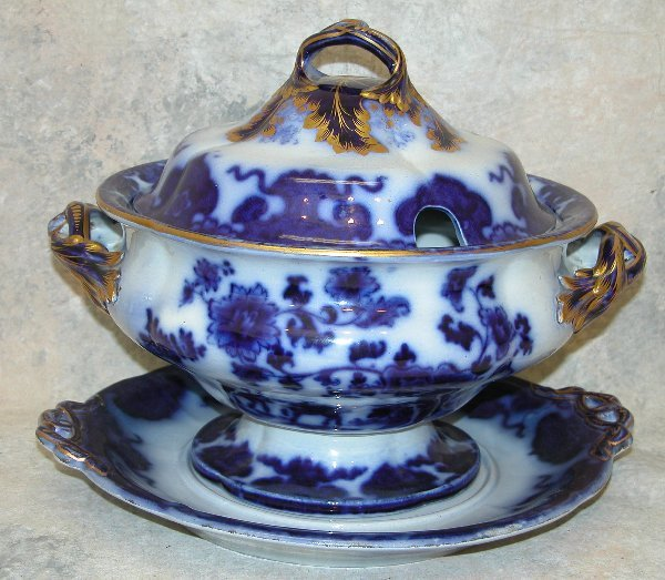 440: Flow Blue Soup Tureen With Under tray –