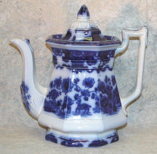 452: Flow Blue Teapot, Bud Finial – Cashmere.