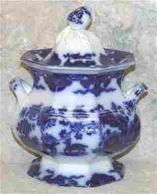 Flow Blue Lidded Sugar Bowl, Acorn Finia