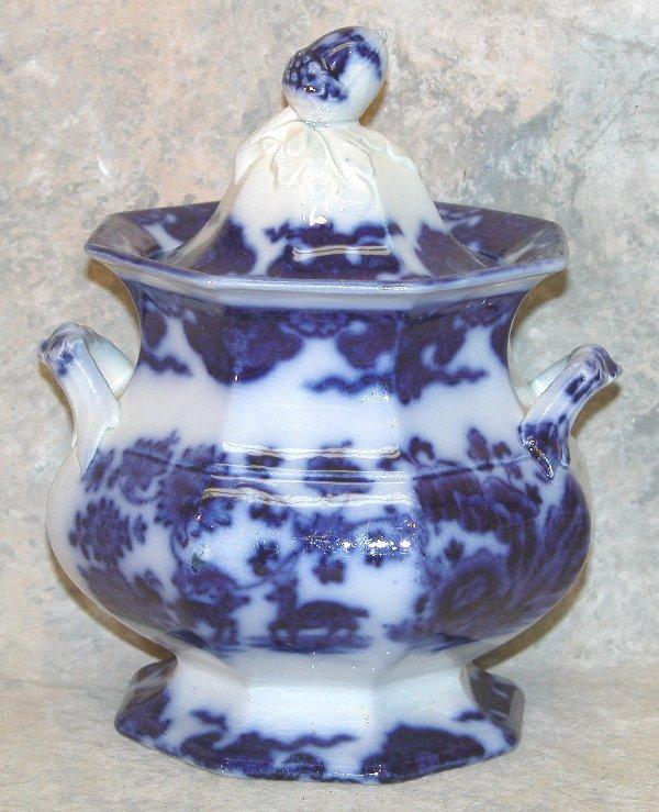 454: Flow Blue Lidded Sugar Bowl, Acorn Finia
