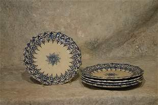 Five Spongeware Plates.