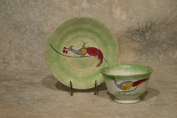 549: Spatterware Cup and Saucer.