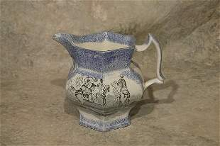 Sponge and Transfer Decorated Pitcher.