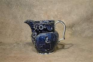 Clews Historical Blue Pitcher.