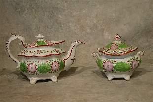 Soft Paste Tea Pot and Sugar Bowl.
