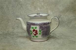 Spatterware Tea Pot.