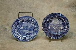 Two Staffordshire Cup Plates.