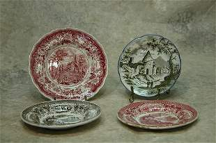Four Staffordshire Cup Plates.