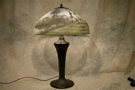 622: Reverse Painted Handel Table Lamp.