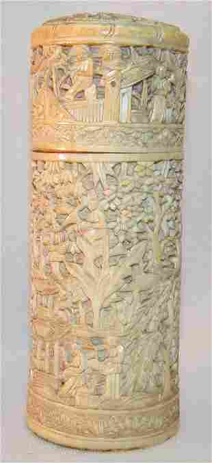 Carved Ivory Cylindrical Box.