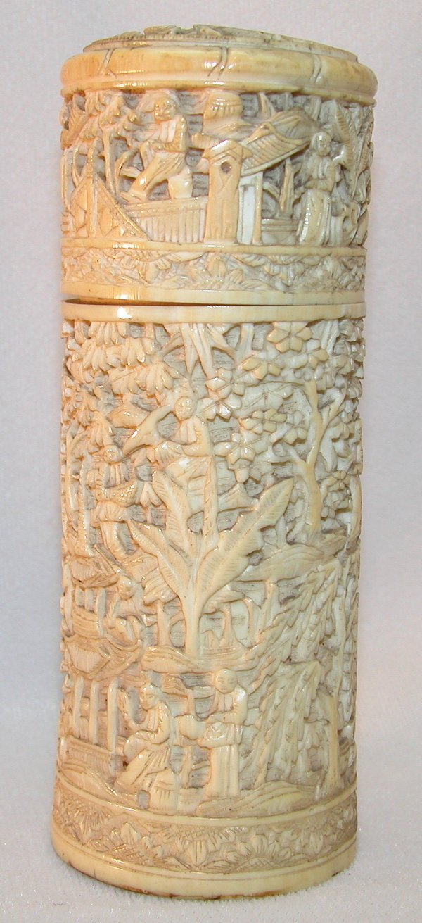 7: Carved Ivory Cylindrical Box.