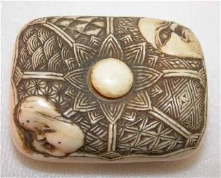 Carved Ivory Manju Netsuke.