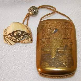 Lacquer Inro With Ivory Netsuke and Metal Ojime.