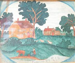 Folk Art Pastoral Painting
