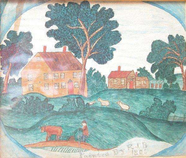 1018: Folk Art Pastoral Painting