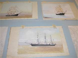 Grouping of Early Sailing Ship Paintings