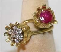 1246: Two Tulip-Shaped Gemstone Rings.