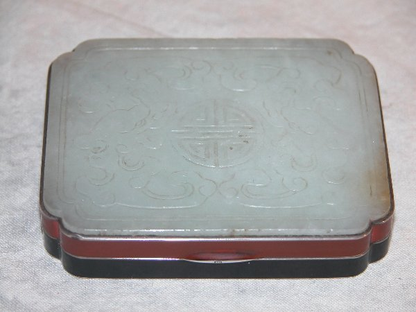 1562: Art Deco Jade and Silver Box.