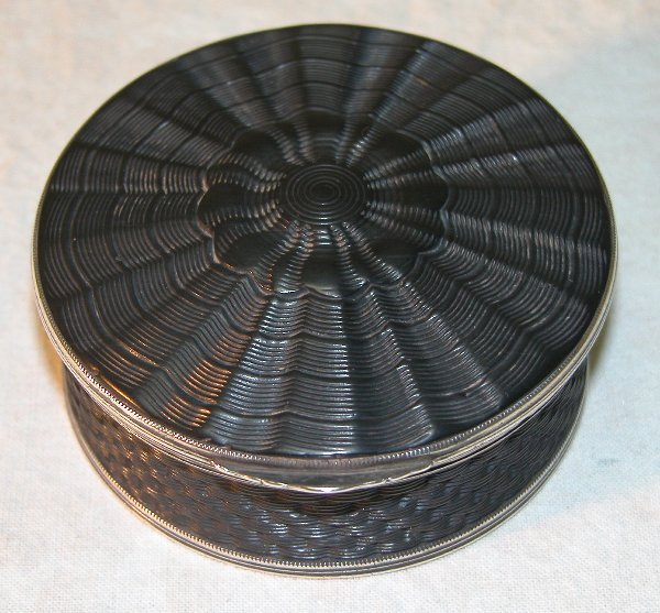1563: Lignite and Silver Snuff Box.