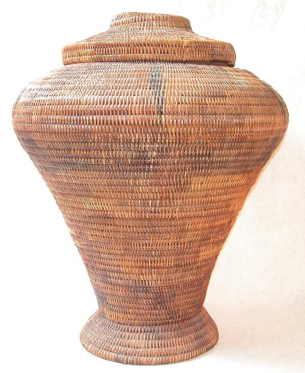 1569: Large Tribal Lidded Basket.