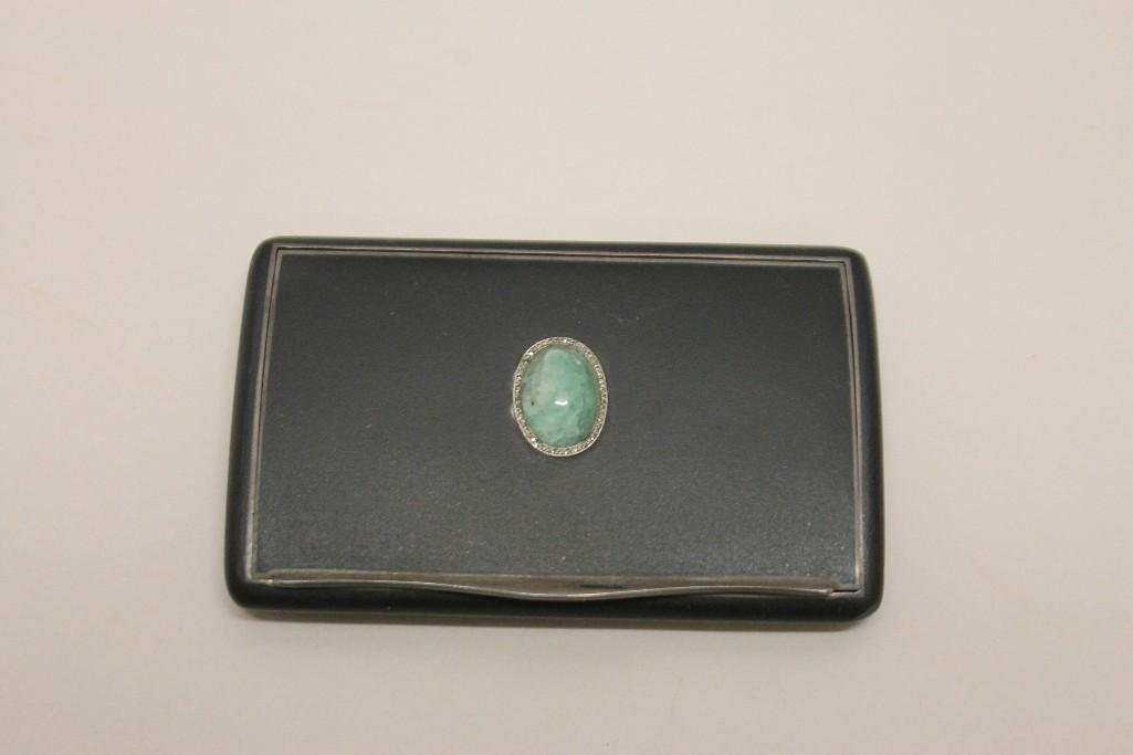 Enameled Sterling Silver Case with Cabochon & Diamond