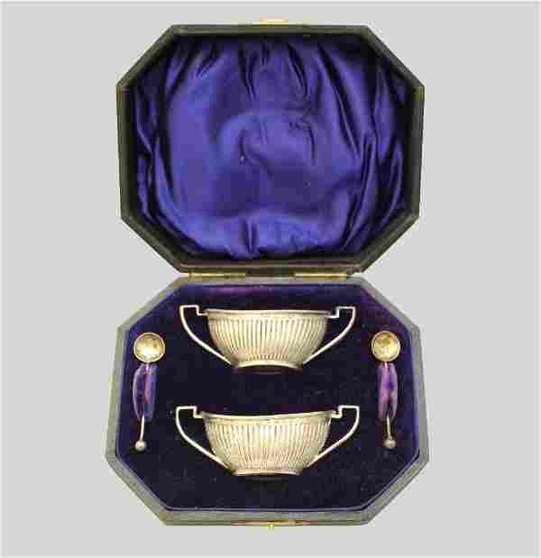 Cased Set of English Sterling Silver Salt Cellars &