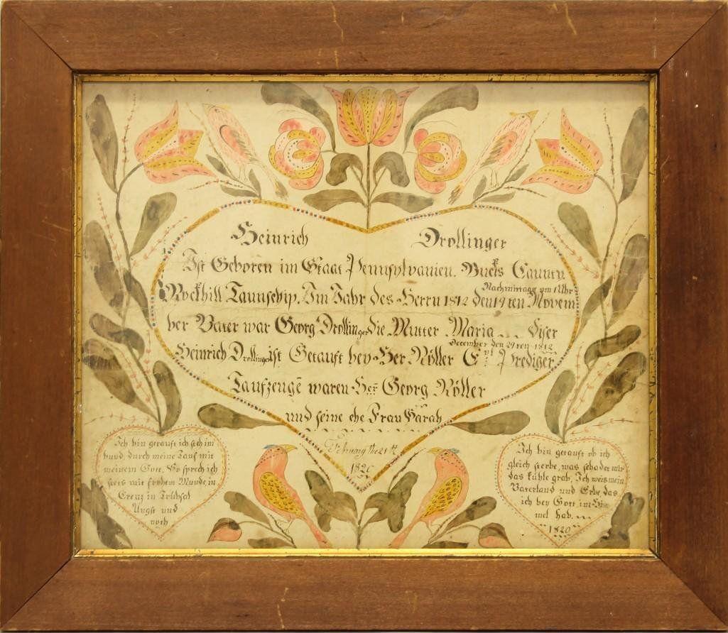Taufschein for Heinrich Drollinger, 1820, PA