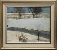 "Walter E. Baum (1884-1956, Pennsylvania) ""Winter Brook"""