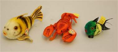 """LOT OF (3) VINTAGE TAGGED STEIFF ITEMS: """"FLOSSY"""" FISH,"""