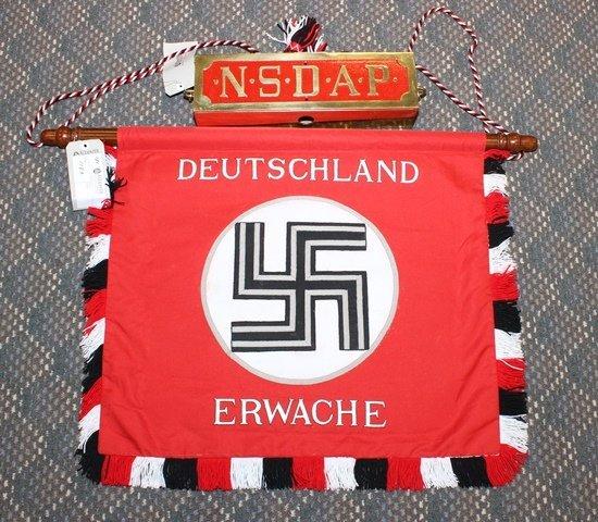 """German NSDAP """"Deutschland Erwache"""" Parade banner - - 2"""