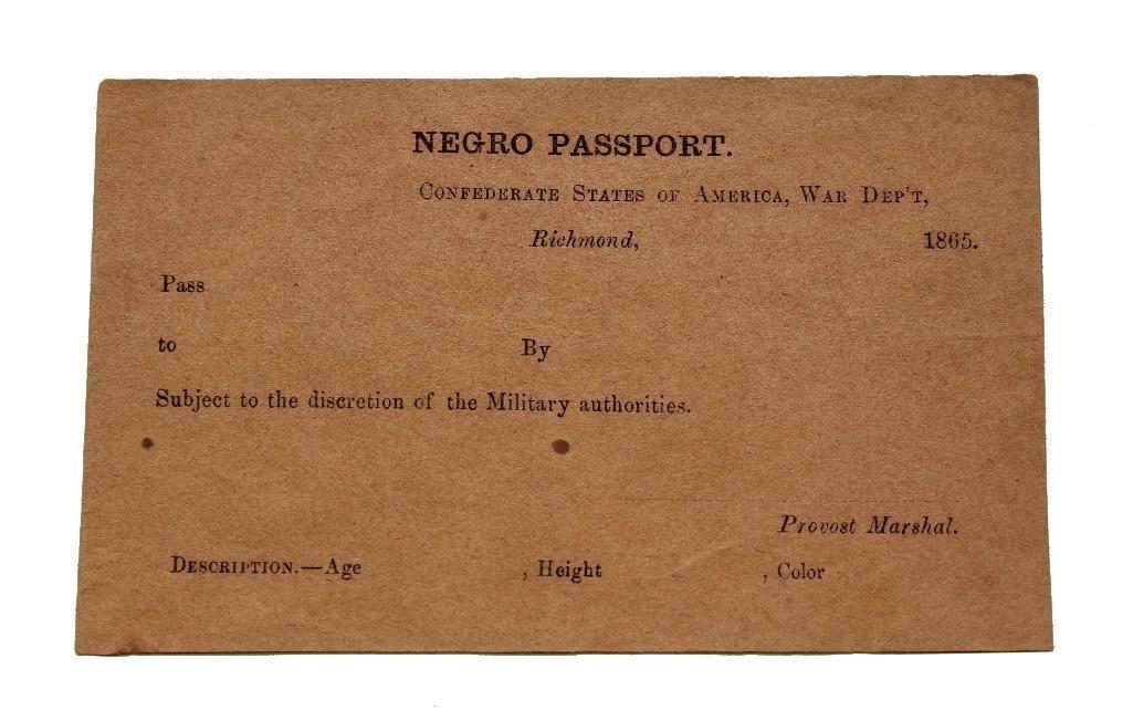 Civil War Confederate Negro Passport-Unused