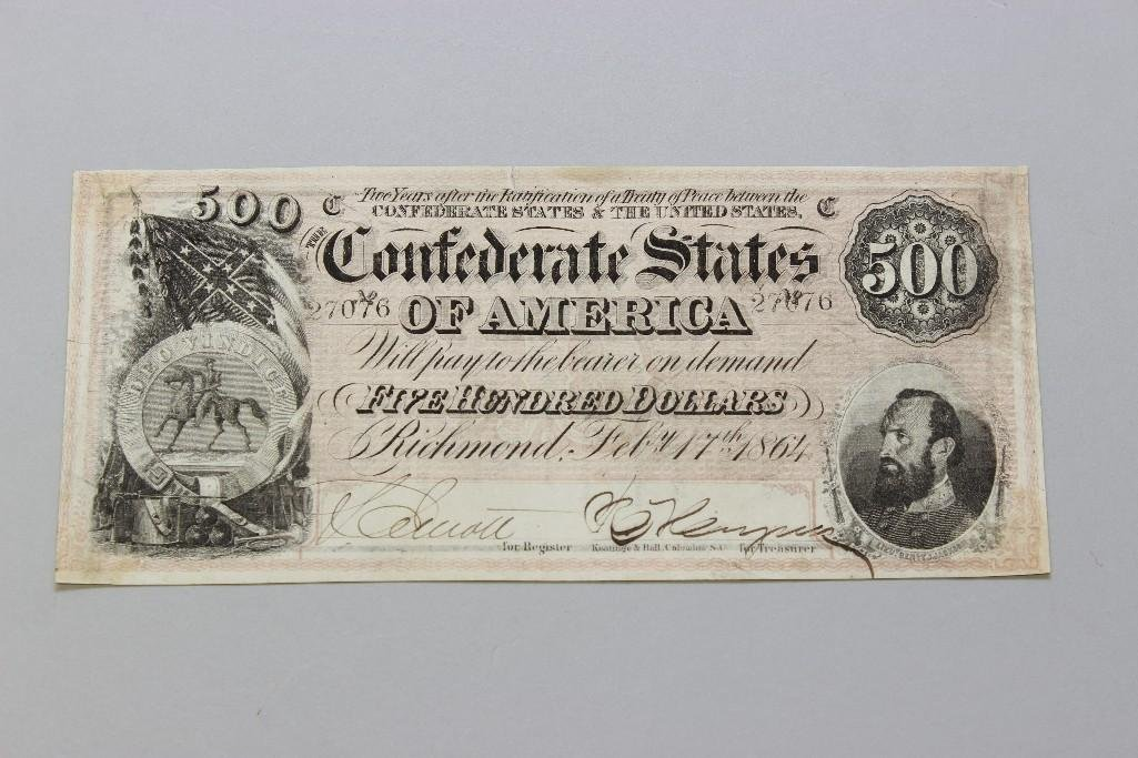 Five Hundred Dollar Confederate Currency Note