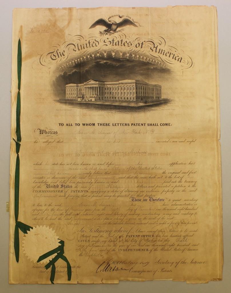 Singer Sewing Machine Patent-1855