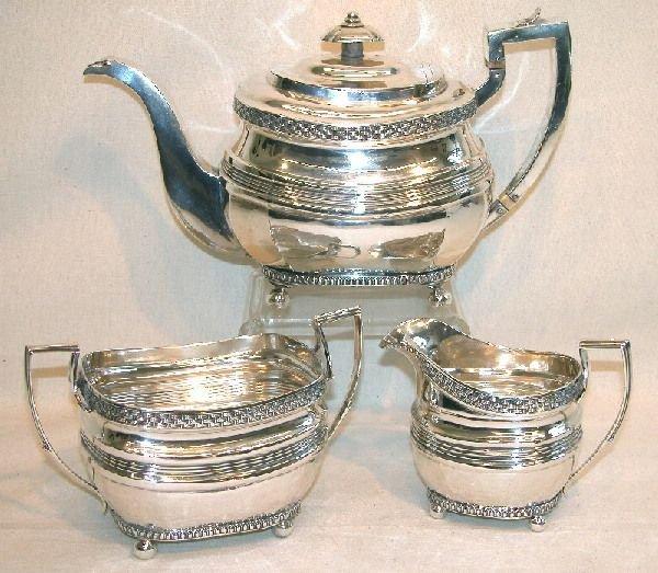 1013: Georgian Sterling Silver Tea Set.