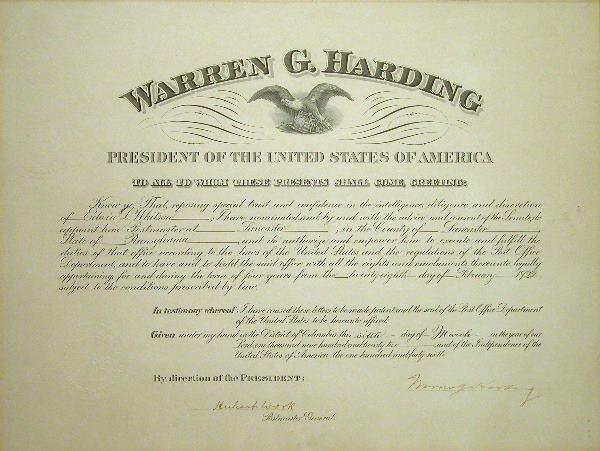 506: Warren G. Harding Autograph.