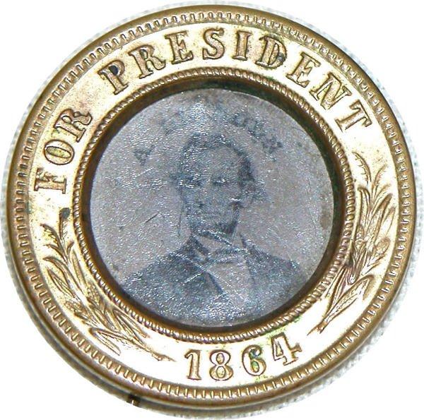 516: Abraham Lincoln Ferrotype Pin - 1864.