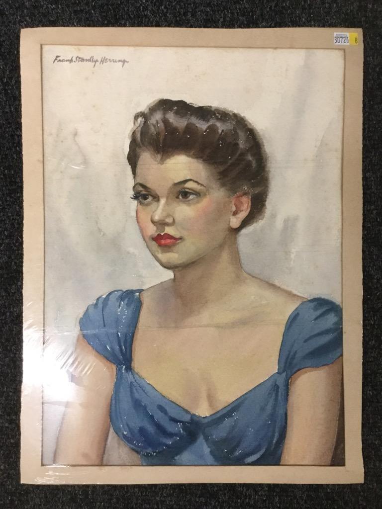 Frank Stanley Herring. Portrait of Woman in Blue.