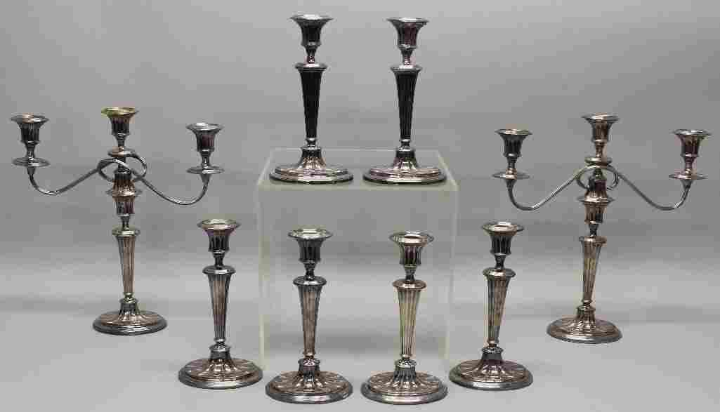 Set of Sheffield Plate Candlesticks & Candelabras