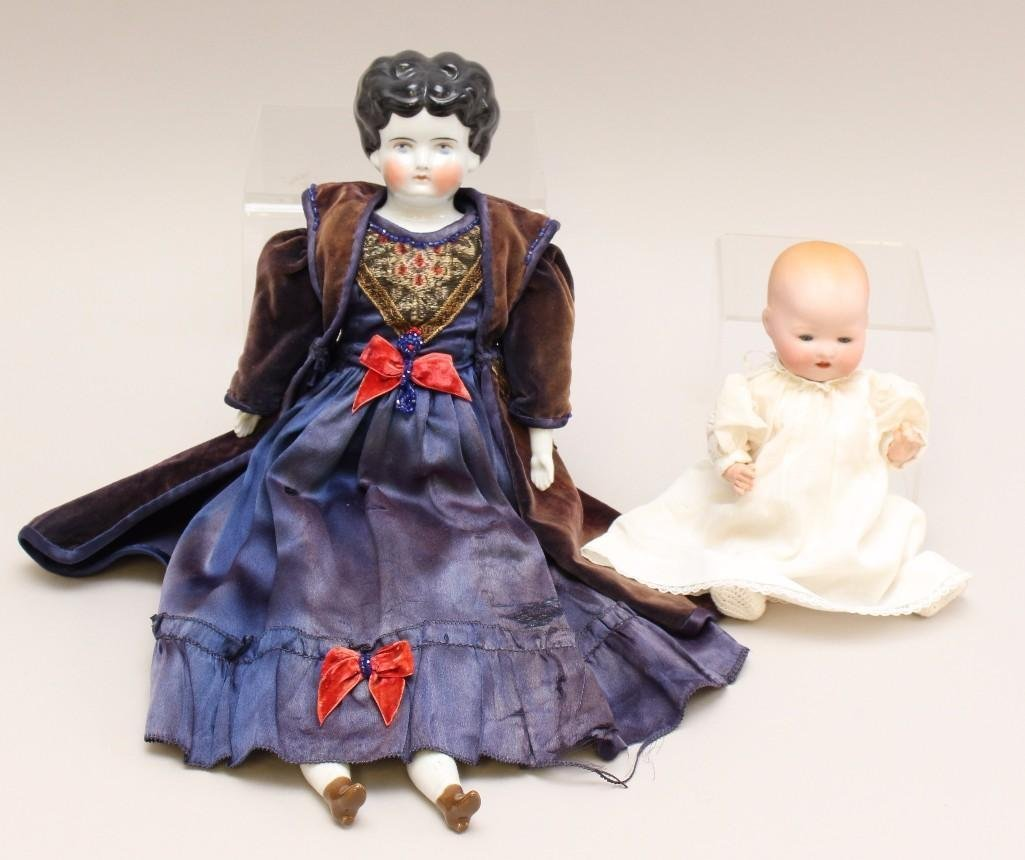 "PAIR OF ANTIQUE DOLLS: 17"" CHINA LOWBROW AND 8 1/2"""