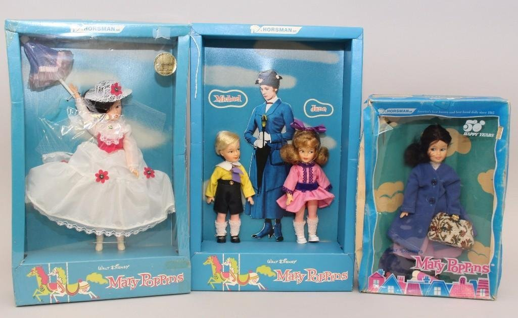"SET OF (3)  1964  ""MARY POPPINS"" FAMILY DOLLS IN"