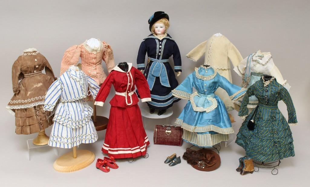 """16"""" """"3"""" ANTIQUE BISQUE HEAD FRENCH FASHION DOLL, WOODEN"""