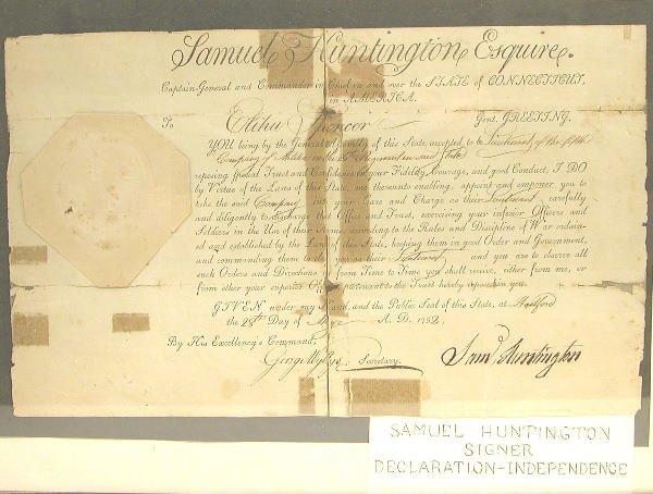 14: Autograph of Samuel Huntington-Signer of Declaratio