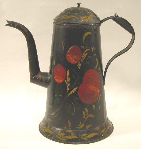 412: Black Toleware Coffeepot.