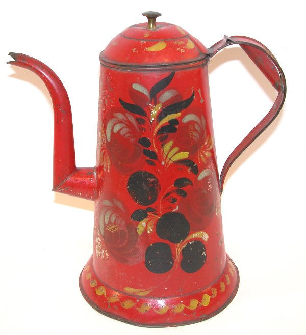 414: Red Toleware Coffeepot.